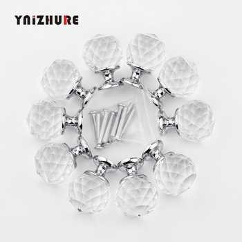 30mm 10Pcs Crystal Ball+Zinc Alloy Furniture cupboard wardrobe Cabinet Drawer Dresser Door Pulls Knobs Handles with screw - DISCOUNT ITEM  22% OFF All Category