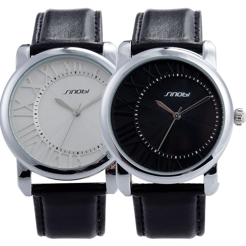 SINOBI Fashion Watches Men Luxury Brand Watch Waterproof Genuine Leather Business Watch hours relojes hombre relogio masculino