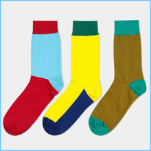 (3pair)Color matching man cylinder hosiery for casual male tide in pure cotton socks wholesale
