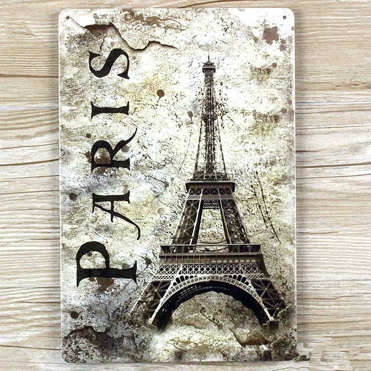 paris eiffel tower A-0159 vintage home decor metal Tin signs for bar about car wall art craft  Metal plaque  20X30 CM