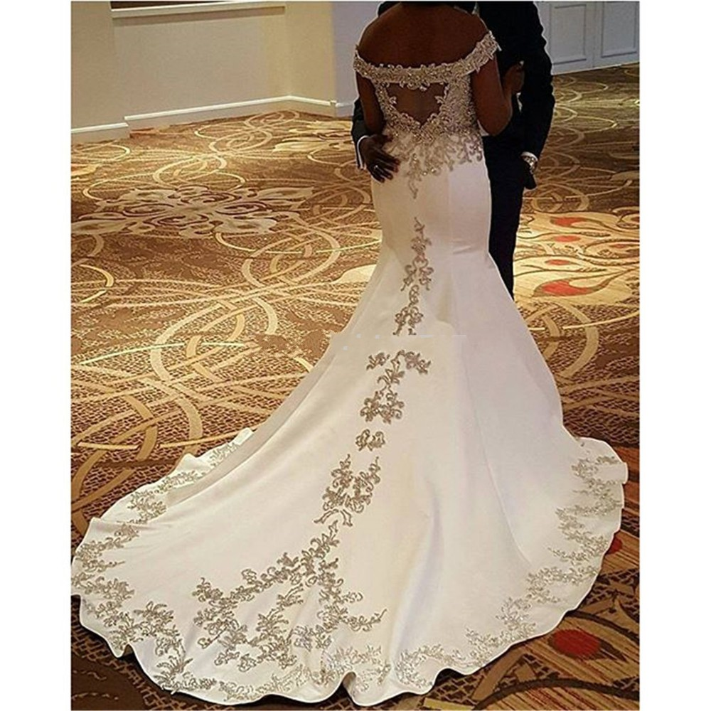 Bride Dresses 2017 Satin White African Wedding Gowns