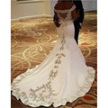 Vestidos de noiva 2017 de Cetim Branco Vestidos De Casamento Africanos Frisado Apliques Sereia Vestidos de Casamento Robe De Mariage 1657