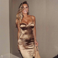Sexy Bra Sleeveless Halter Dress Club Party High Split Mid Elegant Party Solid Mid Calf Dress Gold Dresses GRNSHTS