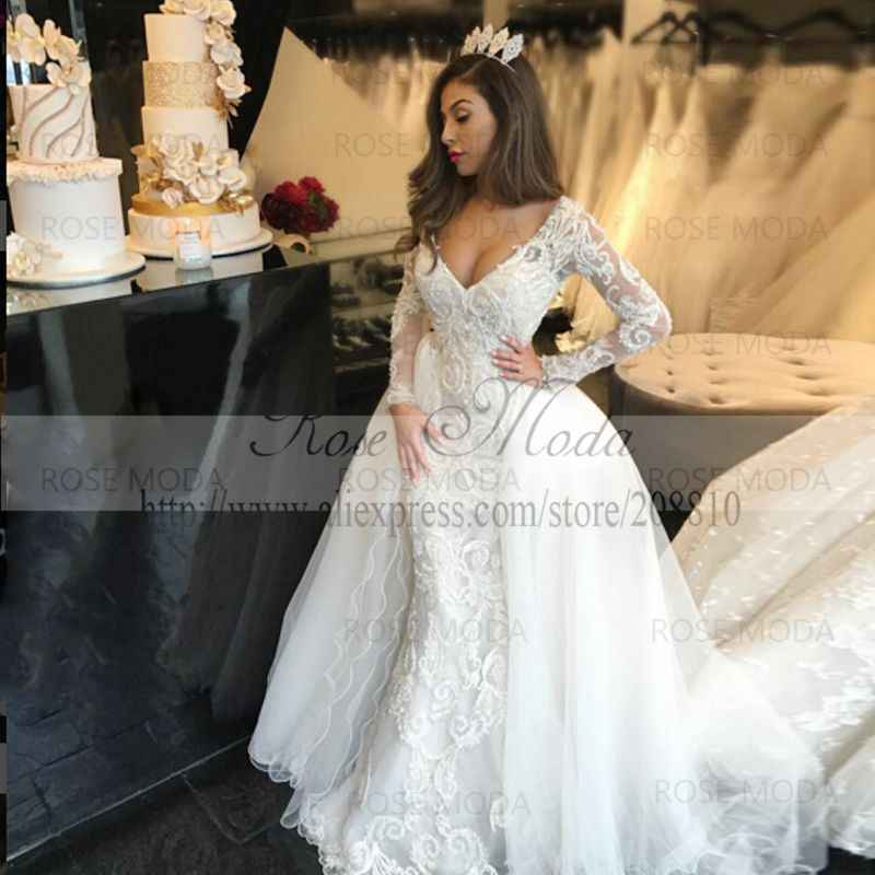 Rose Moda Luxury V Neck Long Sleeves Lace Sheath Wedding Dress With Removable Train Lace Bridal Dress With Pearls