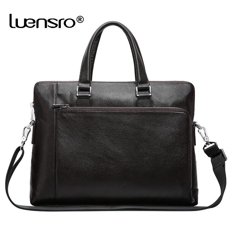 LUENSRO 100% Echtem Leder Aktentaschen Männer 14 Zoll Laptop Aktentasche Marke Mann Beiläufige Handtasche Männlichen Einfache Leder Schulter Taschen-in Aktentaschen aus Gepäck & Taschen bei  Gruppe 1