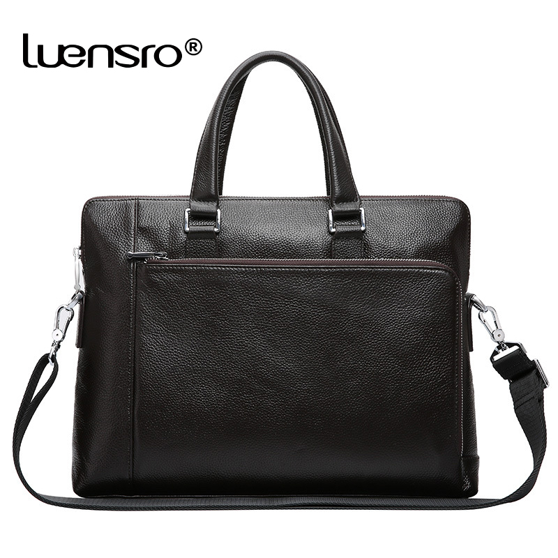 Bagaj ve Çantalar'ten Evrak Çantaları'de LUENSRO 100% Hakiki Deri Evrak Erkekler 14 Inç Dizüstü Evrak Çantası Marka Erkek gündelik çanta Erkek Basit Deri omuz çantaları'da  Grup 1