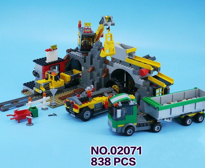 838 pièces nouvelle ville la Mine perceuse camion grue 02071 Figure blocs de construction assembler jouets vacances passe-temps Compatible avec LegoING