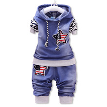 купить 2019 new baby boy clothes set spring and autumn children 's clothes sets denim body suit fashion hooded jean kids clothing sets дешево