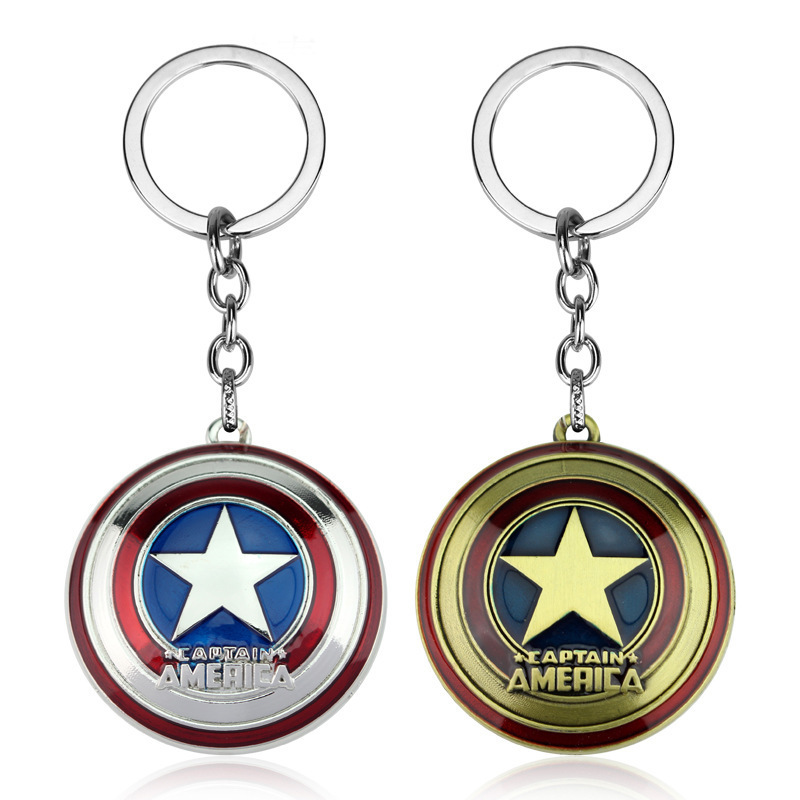 Fashion Style Custom Men Leather Anime Key Chain Captain America Keychain Metal Car Key Ring Spiderman Holder Jewelry Gift Souvenirs Jewelry Sets & More