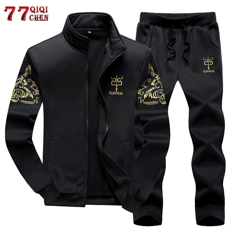 2019 Spring Autumn Men's Sportswear Suit Clothing Sets Tracksuit Men Active Casual Sweatshirts Outwear Plus Size 6XL 7XL 8XL 9XL