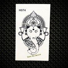 76fdf9aa3 Indian Black Ganesha Temporary Tattoo Onderarm Waterproof Fake Tattoo  Elephant Jewelry Paste Queen Crown Designs Fake Tatto Arm