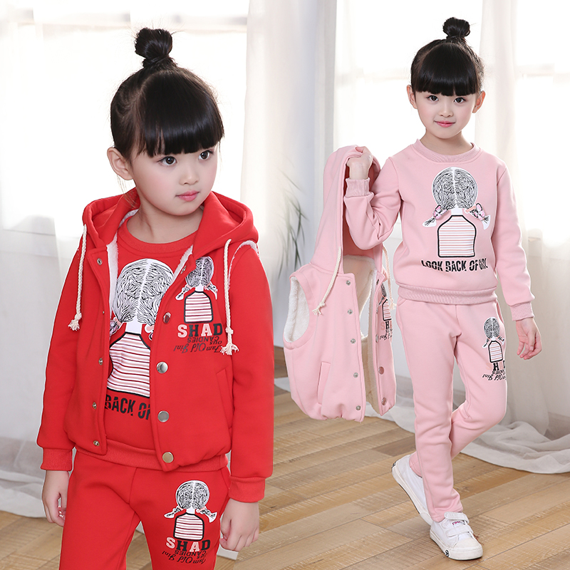 Girls Cartoon Clothing 3 Pcs Set Children Fall Winter Thickening Velvet Clothes 3-12 Year Old Kids Vest Coat + Tops + Pants X273 hot 3 pcs 2018 baby kids fall winter clothing set newborn thick cotton padded clothes boys girls hooded vest coat tops pant g107