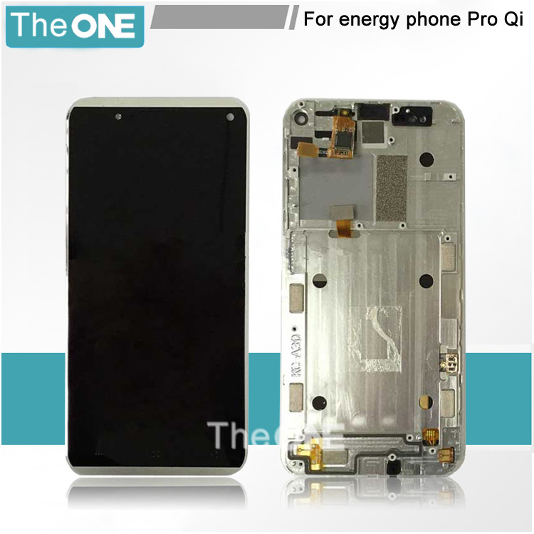 High Quality 5.0  FHD LCD Display + Touch Screen digitizer For energy phone Pro Qi + Silver Frame Free Shipping high quality black silver lcd display