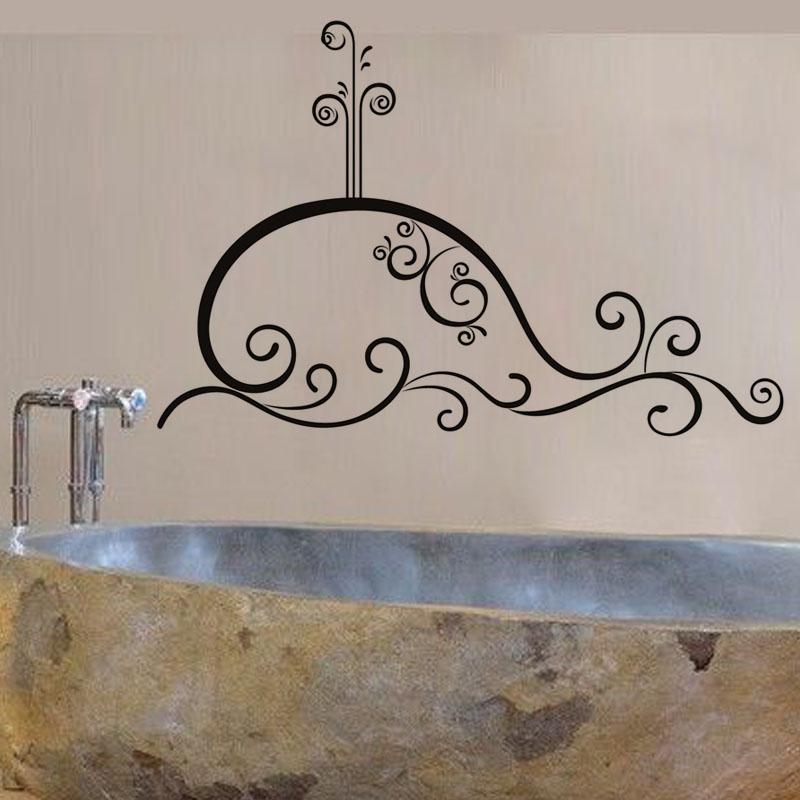 Creative Home Decor Swirl Whale Outline Bath Wall Sticker Pvc Removable Waterproof Wall Decorative Decal