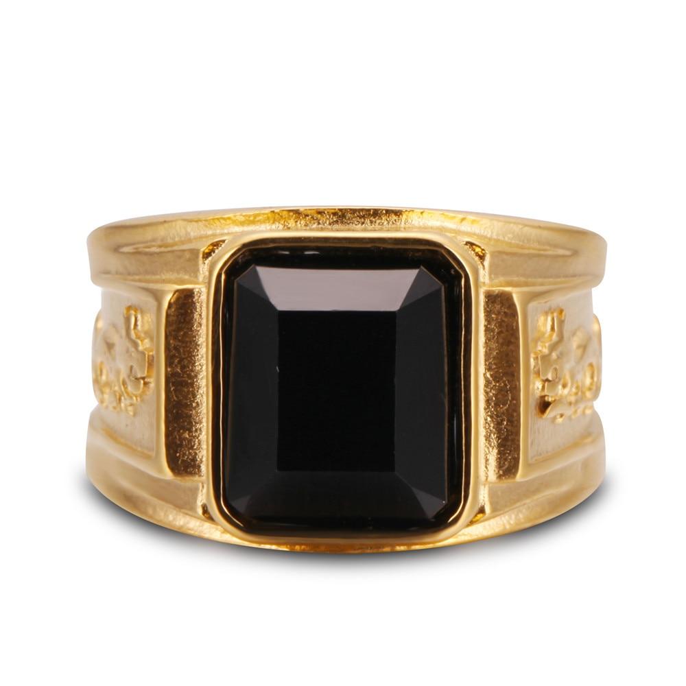 Monla Mens Gold Color Black Large Crystal Stainless Steel Jewelry Rhinestone Charm Wedding Dragon Rings Men