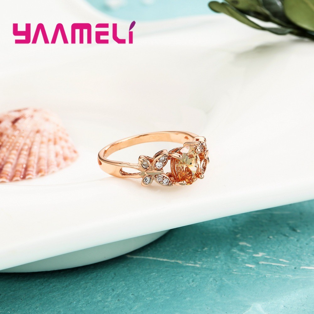 Wholesale Micro AAAA Prong Setting Cubic Zirconia Finger Rings For Women Female Crystal Jewelry Present Rose Gold Color 1