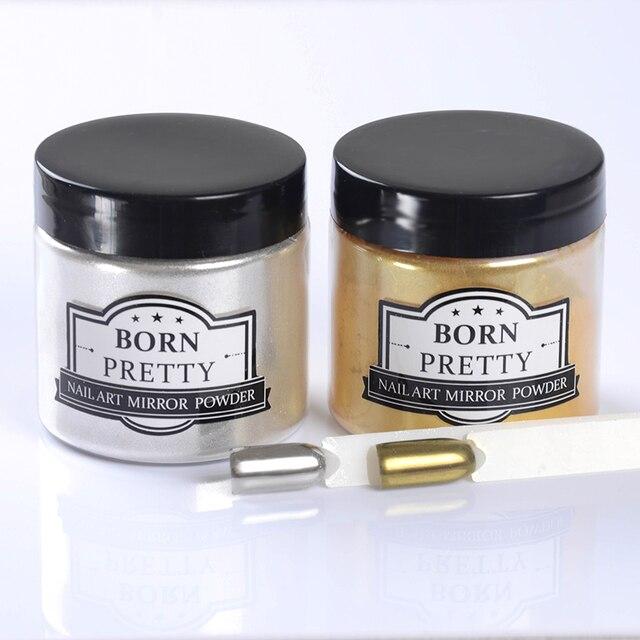 1 caja de born pretty espejo polvo polvo del brillo de plata de oro 50g nail art manicura cromo pigmento