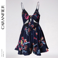 2018 New Spring Summer Sling Dress Floral Print Women Sexy Off Shoulder Hollowed Halter Lady Casual Boho Beach Conjoined Dress