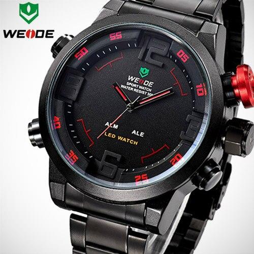 5c74030e3f1 2016 New Brand WEIDE Men Sports Watches Men s Quartz Digital LED Alarm  Clock Full Steel Military