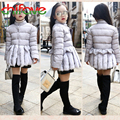 2015 New Autumn Winter Girls Warm Parkas Long Sleeve Single Breasted Turtleneck Ruffles Outwear Coats for 3-7 years old Girls