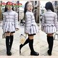 2017 nova outono inverno meninas quentes parkas manga comprida único breasted gola ruffles casacos outwear para 3-7 anos idade meninas
