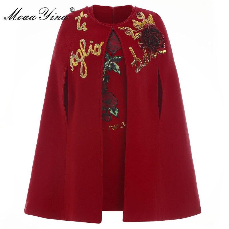 MoaaYina Fashion Runway Cloak Woolen coat Autumn winter Women Rose Applique Sequins 3 colors Elegant Cashmere