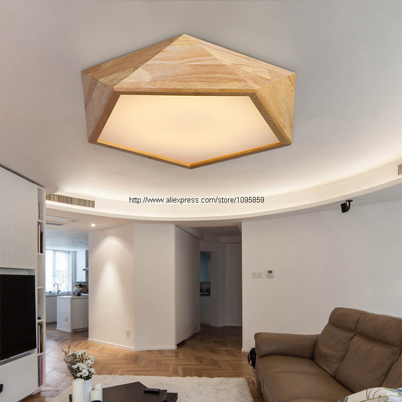 Ceiling Lights Wood Modern Led Lamps For Living Room Polyhedron Fixtures D 42cm Remote Control Luz De Techo Llevada Madera In From