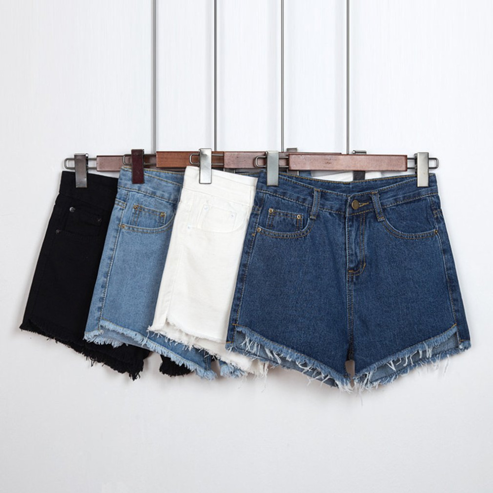 High Waist Jean   Shorts   Women Summer Loose Ragged Edge Denim   Shorts   With Zipper and Pocket Fashion Style buttom