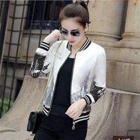 2018 Spring and Autumn New Baseball Jersey Women Korean Print Long Sleeve Jacket Slim Fashion Joker Coat TB181248