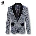 2016 Hombres de la Capa Blazers Chaquetas chaquetas de Los Hombres de Moda Casual Slim Fit Manga Larga de Gran Tamaño de La Flor Abrigo Chaquetas masculino