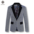 2016 Homens Blazers Casaco Casacos Cardigans dos homens Moda Casual Slim Fit Manga Comprida Tamanho Grande Flor Blazers Jaquetas Casaco masculino
