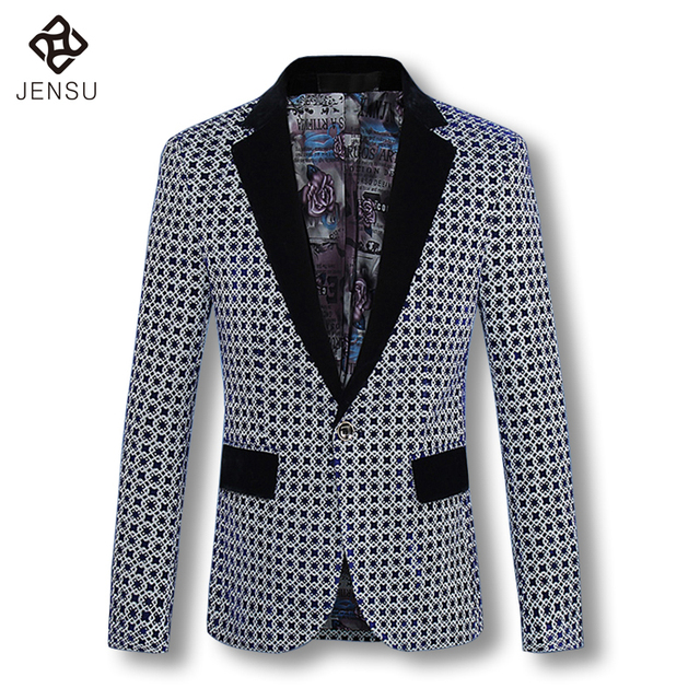 2016 Men Coat Blazers Jackets Cardigans Men's Casual Fashion Slim Fit Long Sleeved Large Size Flower Blazers Jackets Coat Male