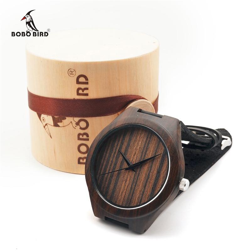 """Prix pour Bobo bird noir en bois montres hommes bande de cuir véritable montre-bracelet en bois japon 2035 mouvement """"quartz montres c-l17"""