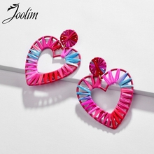 JOOLIM Jewelry Wholesale Big Colorful Heart Raffie Knitted Drop Earring Dangle Statement
