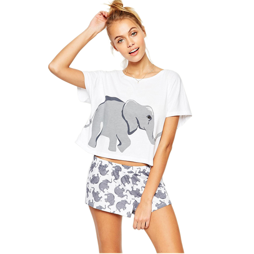 100% Cotton Sets Pajama Women Elephant Animal T Shirts Summer Graphic Funny Sexy Cute Tops Shorts Nightwear Sleepwear Teen Girls