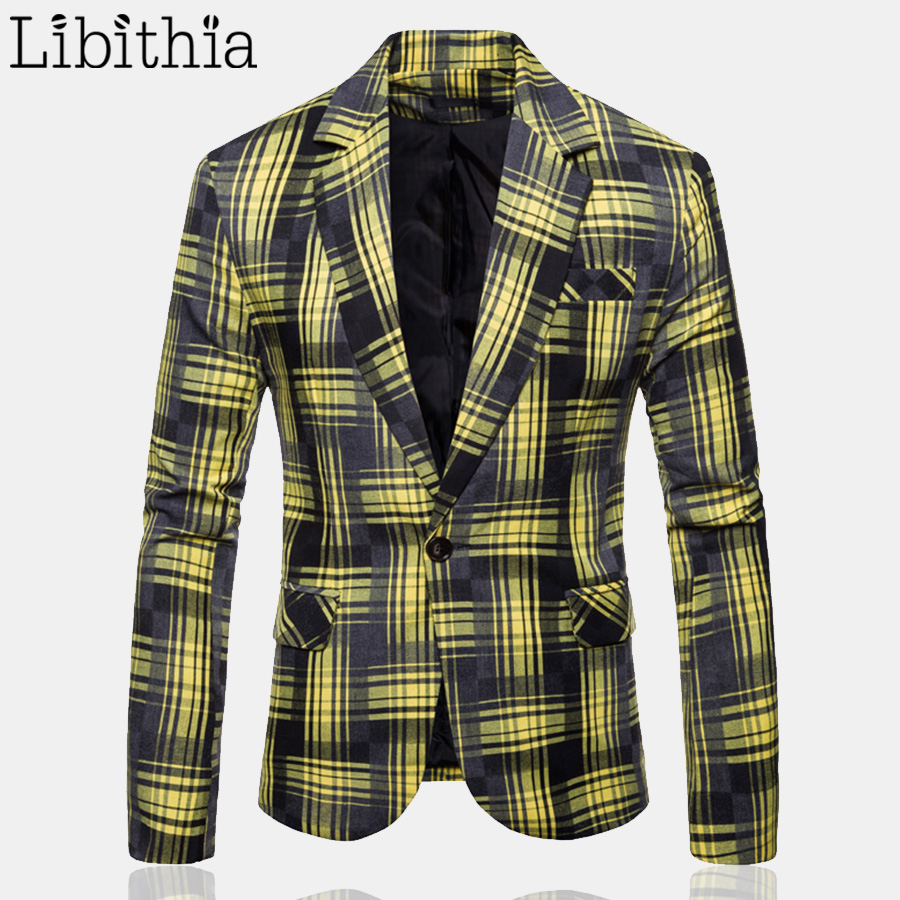 Men's Casual One Button Blazers Plaid Luxury Party Male Tuxedo Dress Wedding Suit Mens M-3XL Clothes Male Black Yellow Blue T266