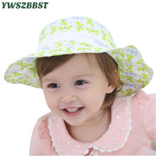 Summer Sun Hat for Girls Toddler Baby Girls Hats Cute Bow Print Autumn Kids Beach Bucket Cap Children Sunscreen Fisherman Cap