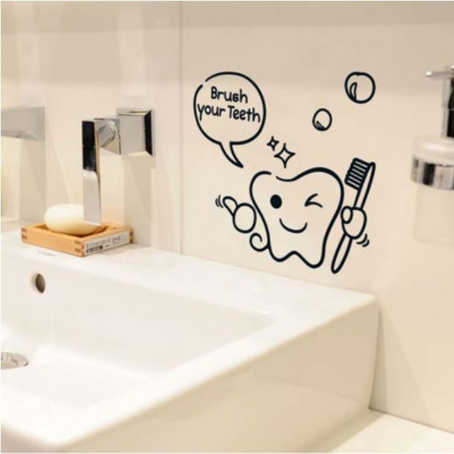 Cartoon Tooth Toothbrush Wall Stickers Bathroom Decor Accessories