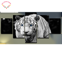 5pcs 5d diy full diamond painting cross stitchanimal White Tiger home decor,5d square diamond embroidery mosaic wall stickers