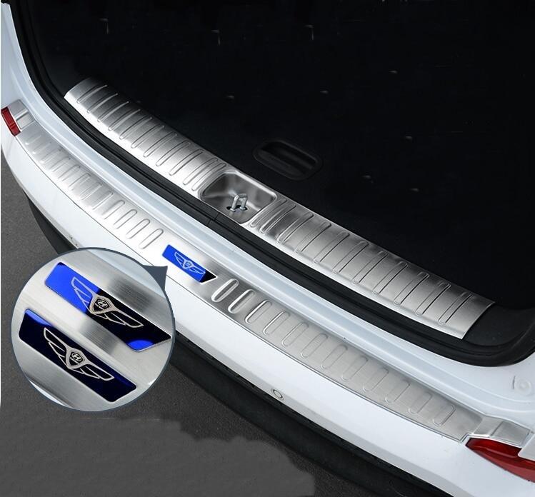Prix pour Pour Hyundai Tucson 2015 2016 2017 Voiture Tronc D'arrière-Garde Couvre Interne + Externe Décoration Pare-chocs Accessoires De Voiture-style