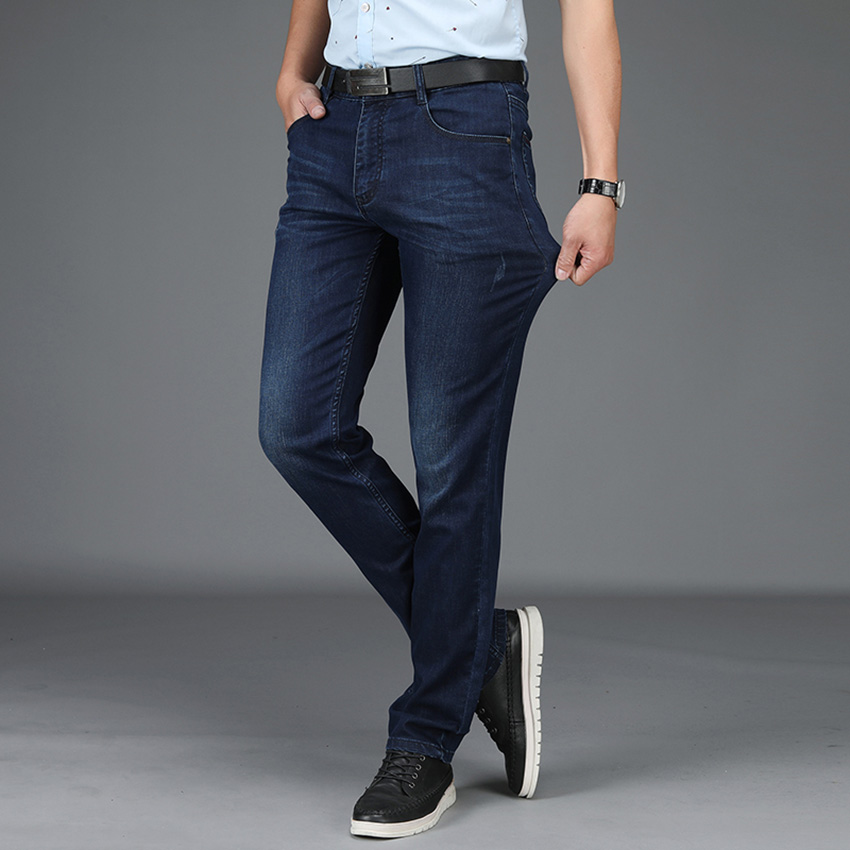 Free Shipping Spring Summer Men Jeans Brand Cotton Straight Classic Denim Pants Male Designer Causal Jeans Man Trousers D83