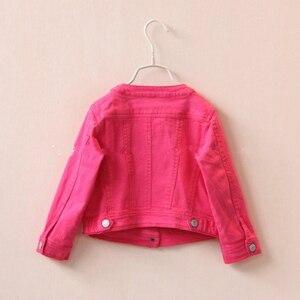 Image 2 - 2 5T באיכות גבוהה אביב בנות מעילי ג ינס הלבשה עליונה רקמת פרח ילדה מעילי ג ינס מעיל ילדים בגדי ילדים בגדים