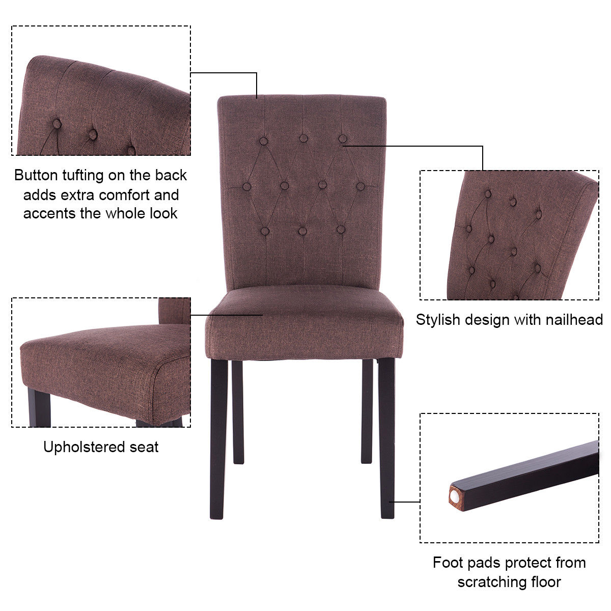 Giantex Set Of 2 Modern Dining Chair Fabric Armless Accent Tufted  Upholstered With Solid Wood Legs Furniture HW52778BN In Dining Chairs From  Furniture On ...
