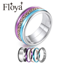 Floya 8mm width Band Rings Femme Bijoux Arctic Symphony Purple Multi Colorful Combination Ring Free Box