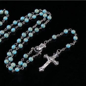 6mmCross Necklace Catholic Crystal Beads Red Rose Rosary Catholic Necklace Ladies Long Strand Necklace Jesus Jewelry Gift.48pcs