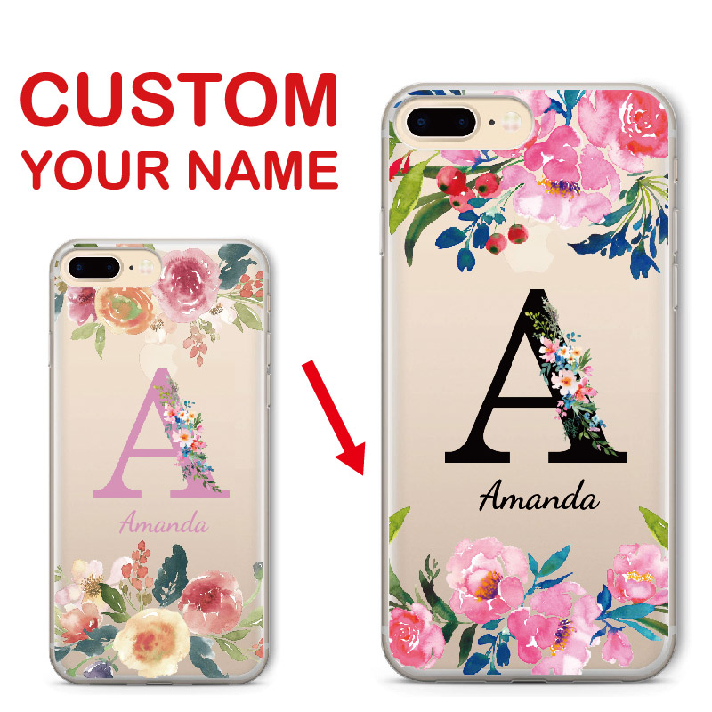 cheap for discount 0a00b efd29 US $4.0 11% OFF|Custom Personalized Name Floral Flower Monogram Soft Clear  Phone Case For iPhone 6 6S XS Max 7 7Plus 8 8Plus 5 X SAMSUNG S8 S9-in ...