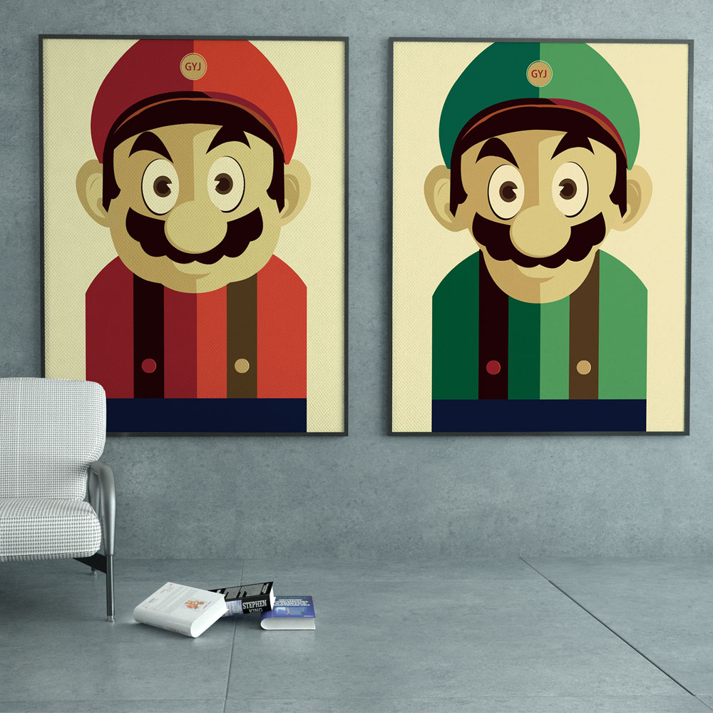 Super Mario Brothers Japanese Game Cartoon Retro pop Art Print Poster Mural Painting Canvas Decoration Children Room No Frame