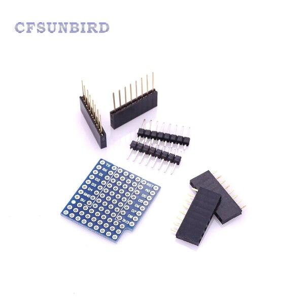 CFsunbird 5PCS/LOT ProtoBoard Shield for WeMos D1 mini double sided perf board Compatible