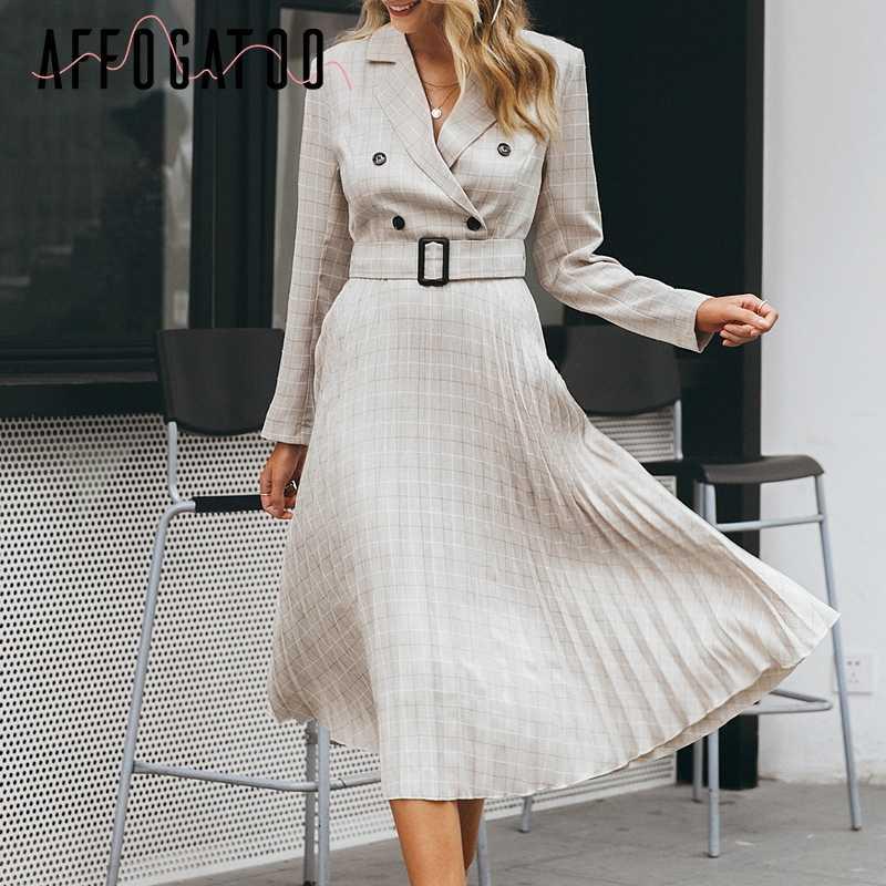Afogaoo элегантное клетчатое женское платье-блейзер на пуговицах с поясом, сексуальное Плиссированное офисное женское платье с v-образным вырезом и длинным рукавом, женские вечерние платья