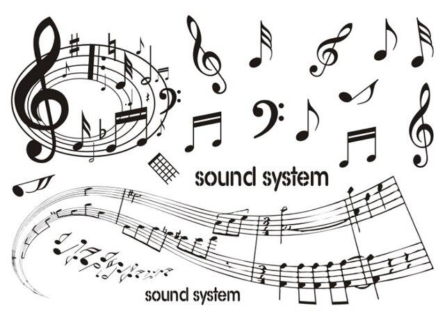 Impermeable Temporal Tatuaje Pegatinas Música Notas Sistema De